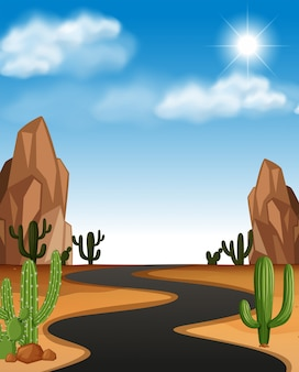 Desert scene with road and cactus