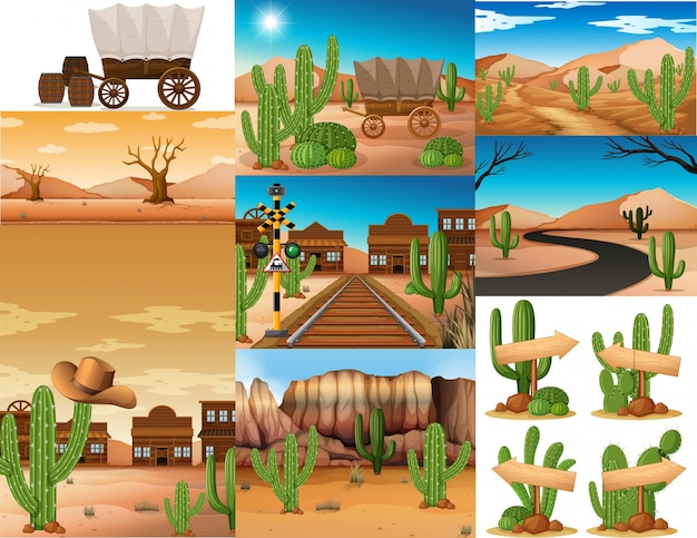 Desert scenes with cactus and buildings