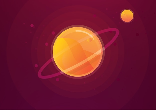 The desert in solar system vector illustration background