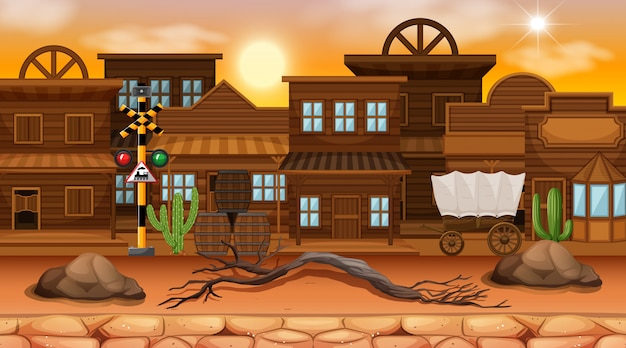 Desert street town scene background