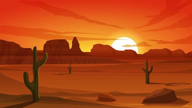 Иллюстрация заката в пустыне с каньоном
