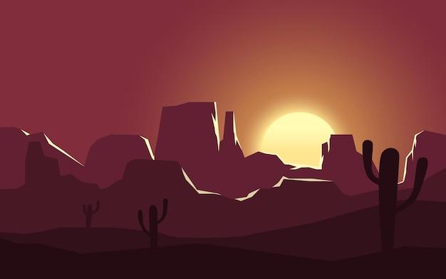 Пустынный закат пейзаж с горой и кактусом