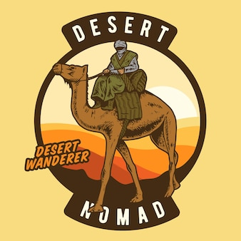 The desert wanderer riding camel