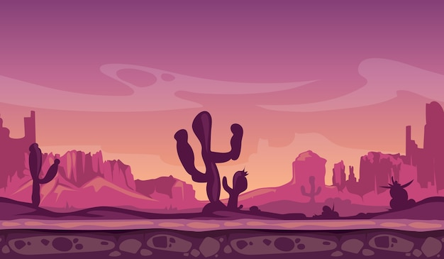 Desert wild cartoon landscape in sunset with cactus, hills and mountains. game seamless vector backg
