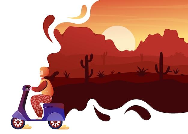 砂漠の野生の自然の冒険旅行のコンセプト