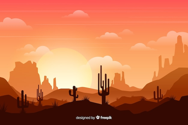 Пустыня с ярким солнцем и высокими кактусами Premium векторы