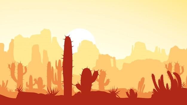 夕暮れのサボテンと砂漠