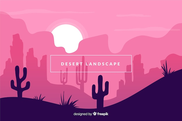 Desert with cactus landscape background