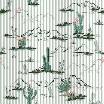 Desert with cactus and mountain flowers seamless pattern