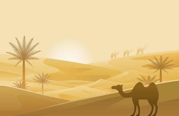 Пустыня с верблюдом и фоном песчаных дюн