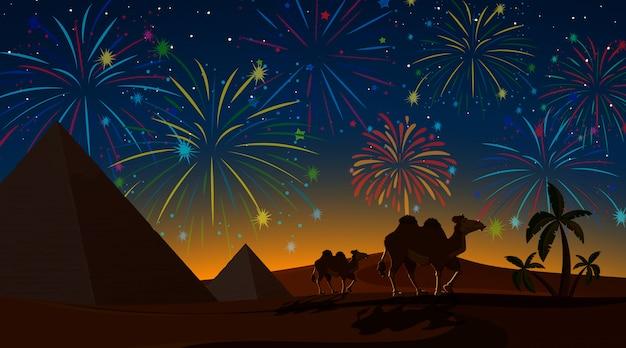 Desert with celebration fireworks