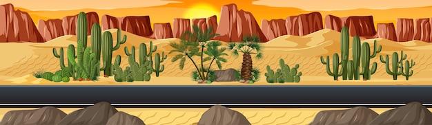 長い道のりの自然景観シーンのある砂漠