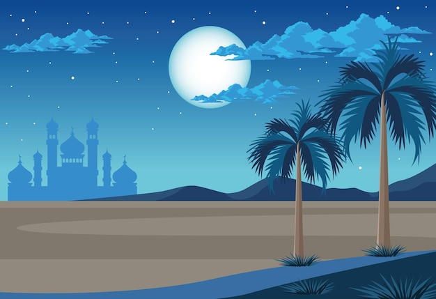 Пустыня с мечетью ночью