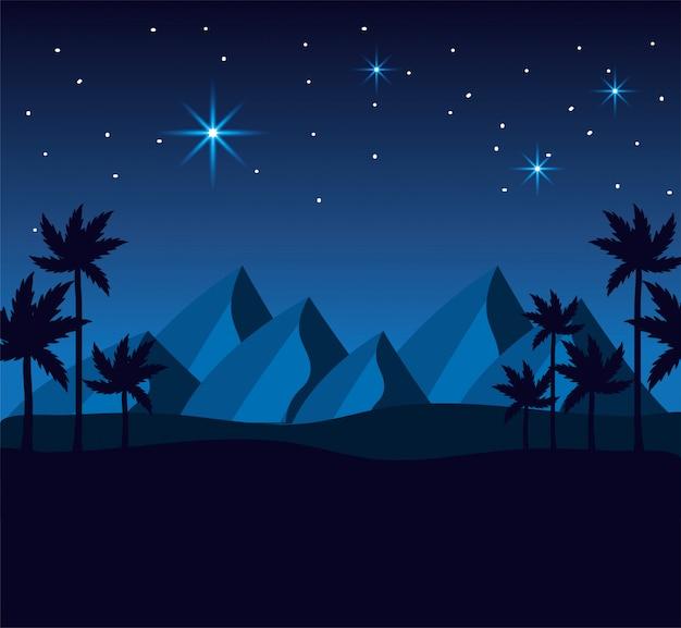 행복 주현절에 산과 야자수와 사막