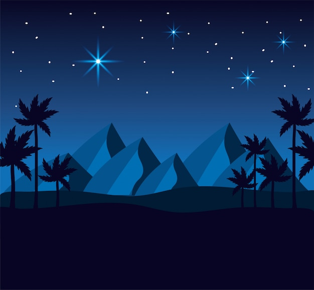 Desert with mountains and palm trees to happy epiphany