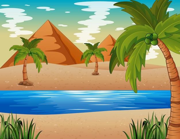 ピラミッドとナイル川のイラストと砂漠