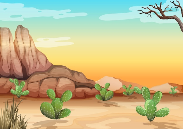 Desert with rock mountains and cactus landscape at day time scene