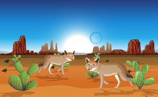 Desert with rock mountains and coyote landscape at day scene