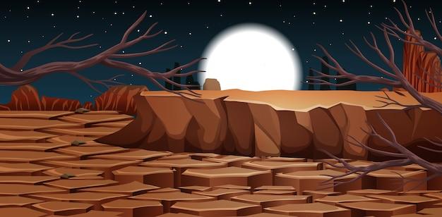 밤 장면에서 바위 산 풍경과 사막
