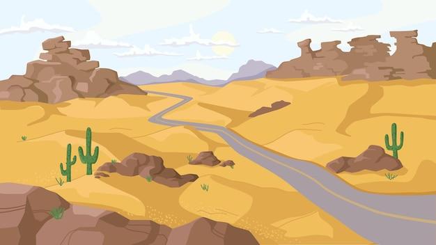 바위 산과 모래 언덕이 있는 사막 경로 플랫 만화 디자인을 따라 선인장 식물을 재배