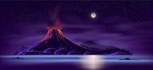 Deserted island with active volcano cartoon