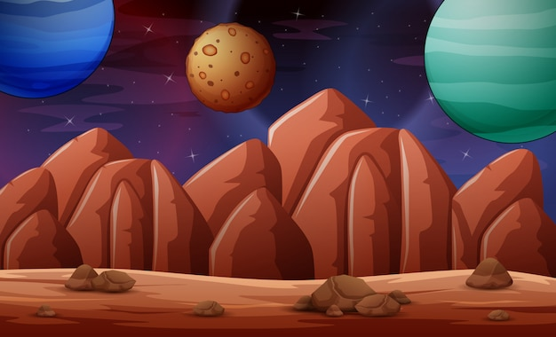 Deserted planet scene illustration