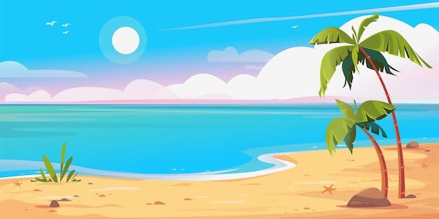 황량한 해안 해변과 야자수 배너 아름다운 벡터 일러스트 푸른 하늘