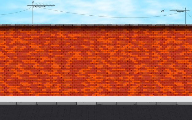 Deserted street on red brick wall background.