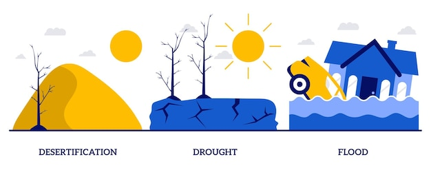 Desertification, drought, flood concept with tiny people. climate change consequences abstract vector illustration set. tsunami, tropical cyclone, extreme weather condition metaphor.