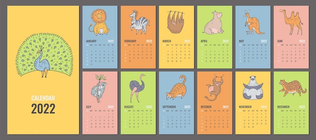 Design of 2022 calendar or planner with cute jungle animals. vector editable template with cover, monthly pages and cartoon characters. week starts on sunday