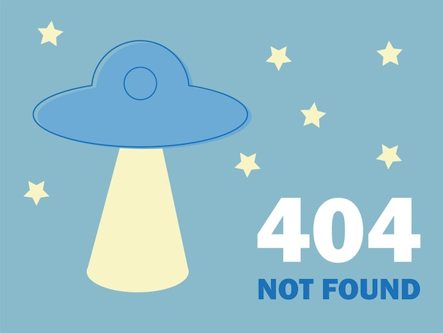 Ошибка дизайна 404 со значком нло. векторная иллюстрация концепции. страница потеряна, а сообщение не найдено. шаблон для веб-страницы с ошибкой 404. современный дизайн линии.