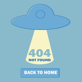 Design 404 error with ufo icon. vector concept illustration. page is lost and not found message. template for web page with 404 error. modern line design.