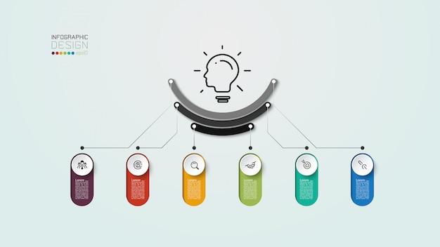 デザイン6ステップは、マーケティング、構造、思考計画、図、レポートフォームのインフォグラフィックデザインで使用できます。