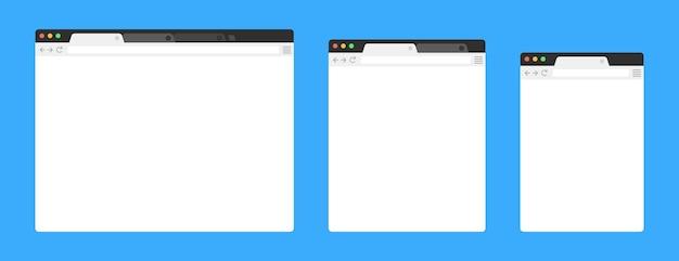 간단한 빈 웹 페이지를 디자인합니다. 컴퓨팅, 태블릿 및 스마트 폰의 템플릿 브라우저 창. 세트.