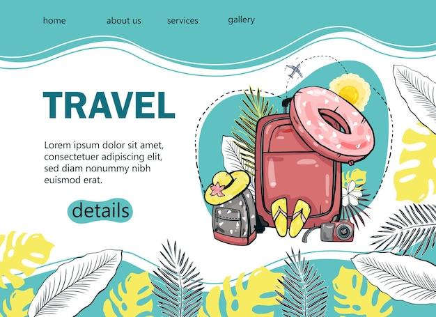 인기있는 관광 블로그, 방문 페이지 또는 관광 웹 사이트를 위해 야자수, 바다, 배낭, 파라솔, 비행기로 관광 배너를 디자인하십시오. 손으로 그린 그림.