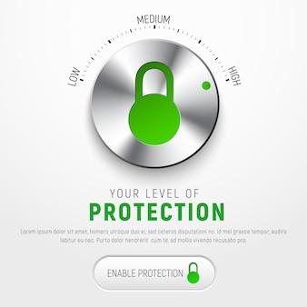 Создайте белый баннер для защиты информации с помощью круглой кнопки для выбора уровня защиты и замка. иллюстрация