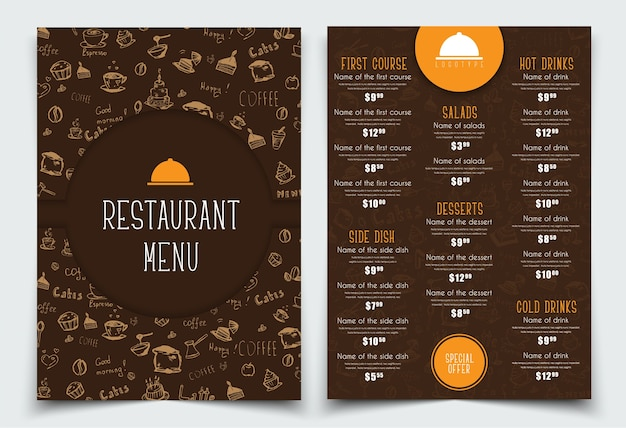 Design a4 menu for restaurant or cafe. brown and orange template with drawings of hands and logo. set.