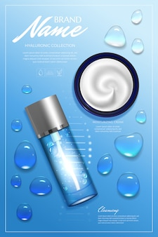 Design advertising for cosmetic. moisturizing cream, gel, body lotion with vitamins.
