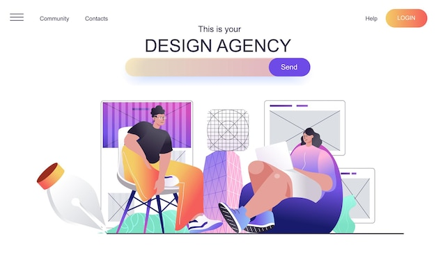 Design agency web concept for landing page
