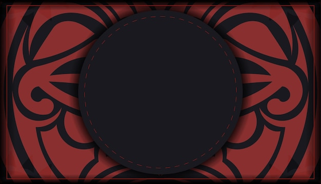Оформите приглашение с местом для текста и лицом в узорах в полизенианском стиле. дизайн открытки черного цвета с маской богов.