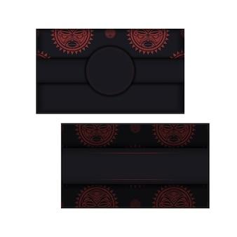 Оформите приглашение с местом для текста и лицом в узорах в полизенианском стиле. вектор готовый к печати дизайн открытки в черном цвете с маской богов.