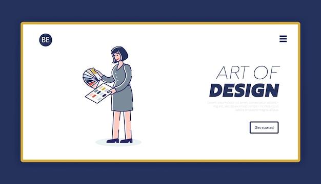 Шаблон целевой страницы дизайна и искусства с дизайнером-женщиной, выбирающим цвет для веб-сайта