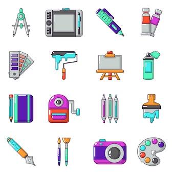 Набор иконок для дизайна и инструментов для рисования