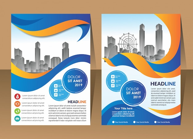 Design annual report cover vector template brochures flyers
