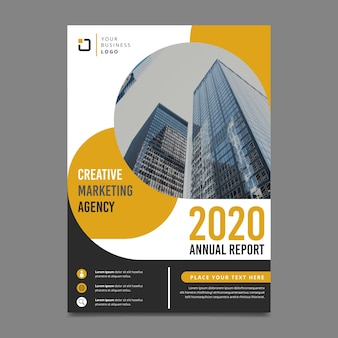 Design for annual report template with photo