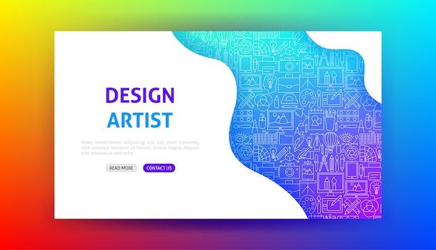 Design artist landing page. vector illustration of outline template.