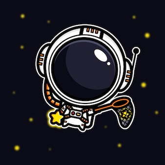 Design of an astronaut capturing a star