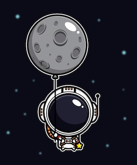 Design of an astronaut flying with a moon balloon