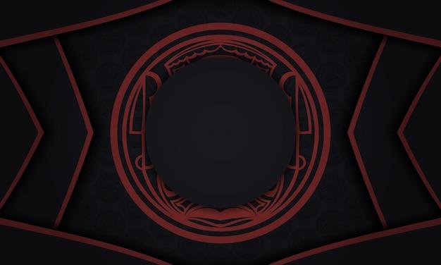 Дизайн фона с роскошными узорами. черный баннер с орнаментом маори и место для вашего текста и логотипа.