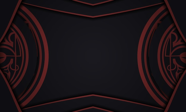 Design background with luxurious patterns. black banner with maori ornaments and place for your text and logo.